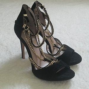 ZARA woman black suede chain heels